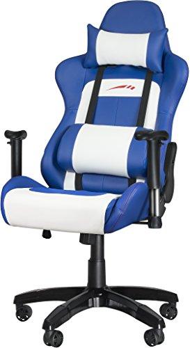 Armlehnen Mit Computer-stühle (Speedlink Verstellbarer Stuhl mit Armlehnen - Regger Gaming Chair Chefsessel für Gamer (Bürostuhl höhenverstellbar - Rückenlehne einstellbar Neigungswinkel (90-165°) inklusive Liegeposition - mit Kissen und Wippmechanik) blau)