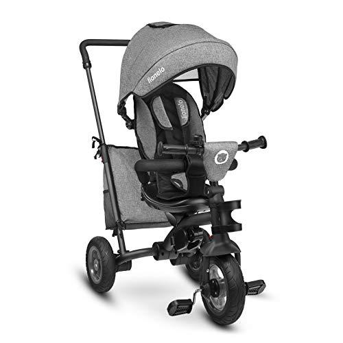 Lionelo LO-TRIS STONE GREY Tris - Triciclo per bambini a partire da 1 anno, a tre ruote, per passeggino, grigio, 11 kg