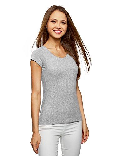 Oodji ultra donna t-shirt basic con taglio a goccia sul retro, grigio, it 40 / eu 36 / xs