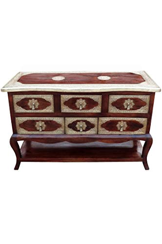 Orientalische Kommode Sideboard Joynab 120cm Braun Gold | Orient Vintage Kommodenschrank orientalisch Handverziert | Indische Landhaus Anrichte aus Holz | Asiatische Möbel aus Indien