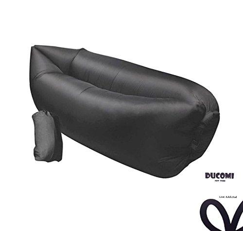 Ducomi airpuffy - materassino mare - divano gonfiabile portatile ed impermeabile in comoda sacca da viaggio - poltrona sofà ideale per spiaggia, campeggio e relax - dimensioni: 260 x 70 cm (grey)