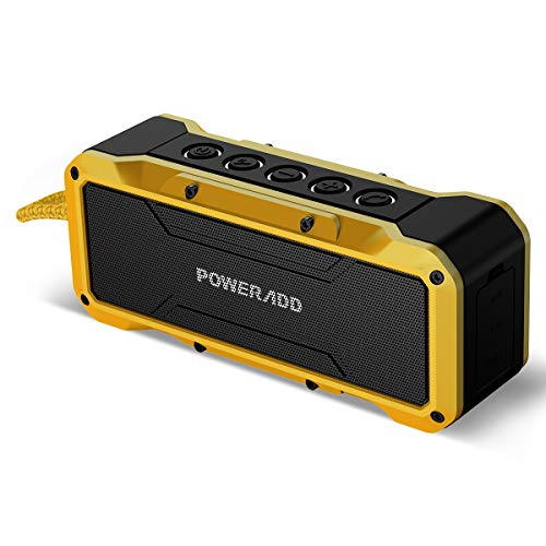 POWERADD Bluetooth Lautsprecher Außen Lautsprecher tragbar mit 4 StereoTreibern (2X13W+2x5W) 360 Grad Sound Wasserdicht IPX7 Bluetooth Lautsprecher 4.2/AUX, Musik Box mit 4000mAh Powerbank
