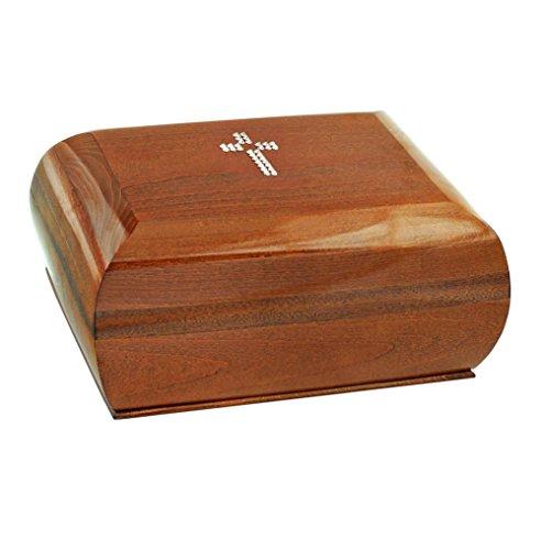 Graburne aus massivem Holz mit Kreuz mit Swarovski-Kristallen, für Erwachsene