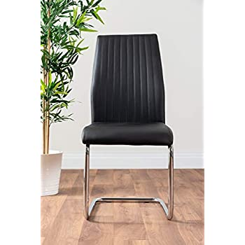 Furniturebox UK Florini V Modern Black Glass And Chrome Metal Stylish Dining Table And 6 Contemporary Lorenzo Dining Chairs Set (Dining Table + 6 Black Lorenzo Chairs)