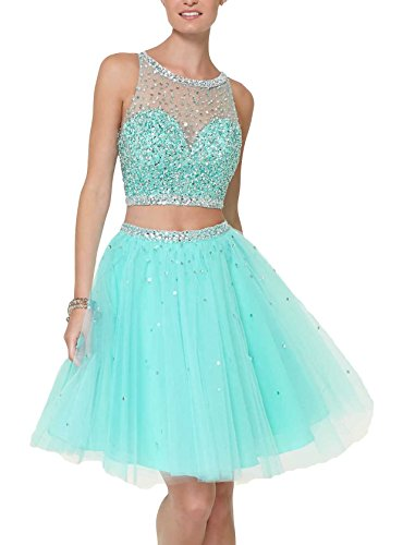 Bridal_Mall Women's Crop Top Beaded Backless Two Piece Homecoming Party Dress