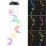 Suniness S LED Moon Star Solar Wind Chimes Outdoor Changing Color Wind Mobile Spiral Spinner Portable Decorative Romantic Wind Bell Light for Yard Garden Home Pathway