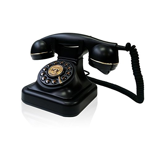 Briebe Vintage - Teléfono analógico con cable, diseño estilo antiguo retro, color negro