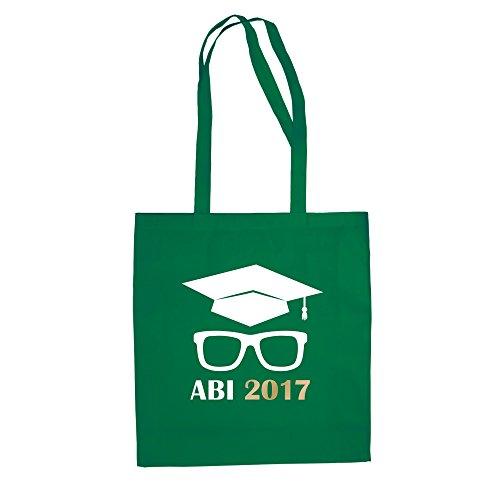 Baumwolltasche - Abitur 2017 mit Doktorhut und Brille - von SHIRT DEPARTMENT fuchsia-gelb