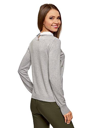 oodji Ultra Damen Pullover mit Stickerei und Hemdkragen Grau (2310B)
