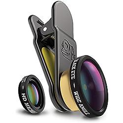 Black Eye HD Combo avec HD Wide Angle et HD Macro pour smartphones (Objectif grand angle 160° et macro 15x, Verre à revêtement double, Fixation clip universelle, Fonctionne avec DualCams) - CM002