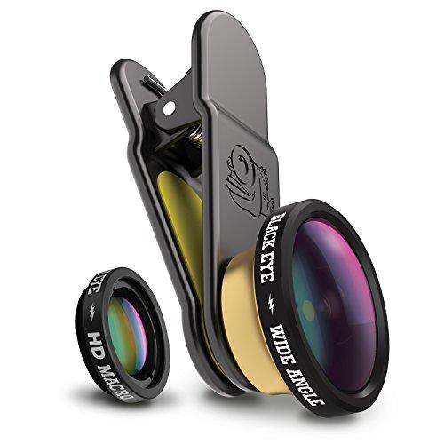 Black Eye HD Combo Kombo-Paket mit HD Wide Angle & HD Macro für Smartphones (160° Weitwinkel- und 15-Fach Makro-Objektiv, 2-fach beschichtetes Glas, Clip-Befestigung, funktioniert auch mit Dualcams)