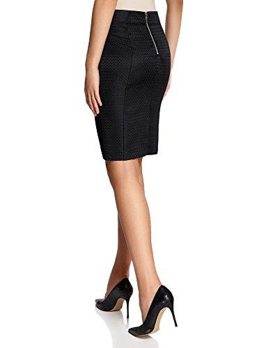 oodji Collection Femme Jupe Droite Décorée de Zips Noir (2900N)