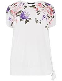 121a811627f17 Yours Women s Plus Size White   Floral Print Embellished Top with Tie Hem
