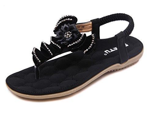 Fortuning's JDS Estate delle donne in gomma suola piatta sandalo della cinghia con Fiore Nero