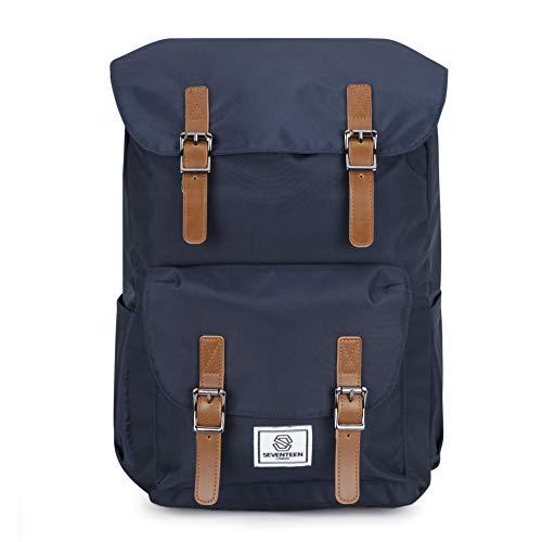 """Seventeen london – zaino moderno, semplice e unisex per trekking con una finitura blu marina e chiusure a strap marroni con clip magnetiche – perfetto per un laptop da massimo 15.6"""""""