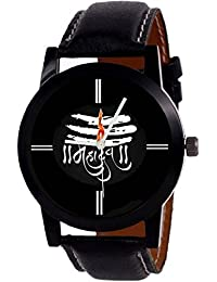 Mvs New Designer MAHADEV Print Dial Black Leather Belt For Boys Watch