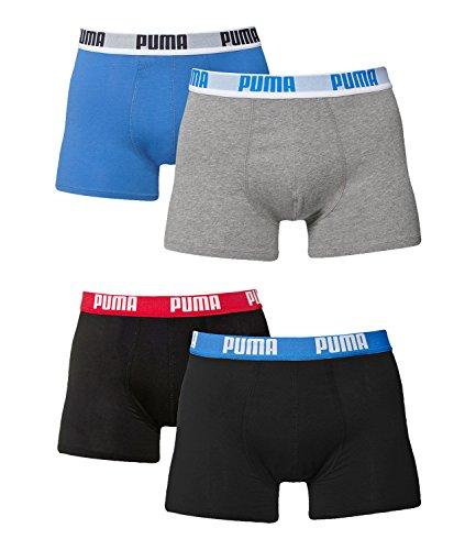 Puma Herren Boxer Basic Unterhosen 4er Pack in verschiedenen Farben 521015001 (grau-melange(417)/schwarz/blau/rot(505), XL) (Herren-unterwäsche Rote)