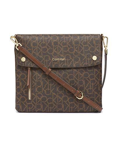 Calvin Klein Damen Rachel Signature, North/South Crossbody-Tasche, Brown/Khaki/Luggage Saffiano, Einheitsgröße (Cross Body South)