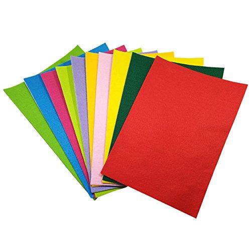 10Pcs Filzstoff Farbig Bastelfilz Weich Vliesstoff Selbstklebend Textilkleber DIY Handwerk Projekte Patchwork zum Nähen 20cm x 30cm mit Kleber -