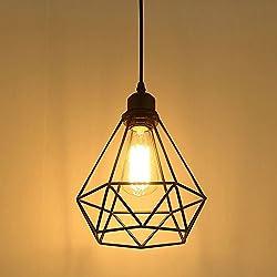 Lampe Suspension Vintage, Maxsal E27 Lustre Plafonniers (sans ampoule) Style Retro Industrielle (forme de cage)