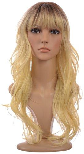 Tiffany Perücke aus langem gewellten Echthaar Gemisch in Wasserstoff Blond mit sichtbarem Ansatz| Weicher Pony | 3 (Perücken Tiffany)