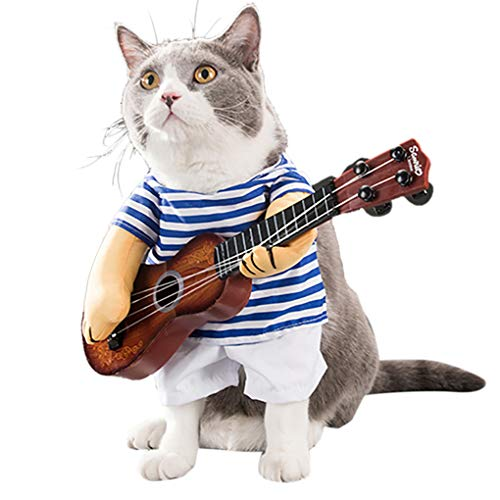 Regard Haustier-Kleidung Outfit Funny Pet Gitarre Haustier Kleidung Outfit lustiges Kostüm Short Sleeve Gitarrist Spieler Outfit für Halloween Christmas Festival, 1, - Star Spieler Kostüm