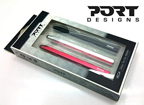 Port Designs Vega Trio Universal Zeichen- und Grafik-Stylus-Eingabestift, batteriefrei, für Handy, Smartphone, Tablet, iPad, Kindle, inkl. 3 Stifte, Rot/Silber/Schwarz - Audiovox Ipod