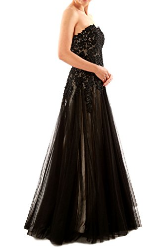 Two Tone Strapless Sweetheart Black Long Lace Tulle Ball Gown Prom Evening Dress Schwarz