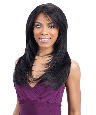 Gianna – Freetress Equal Vert Bouchon synthétique Lace Front Perruque Long Bounce Extensions de cheveux humains longue ligne droite