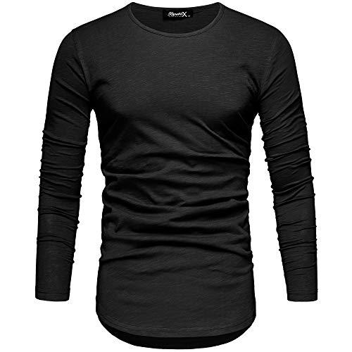 REPUBLIX Oversize Herren Longsleeve Vintage Sweatshirt O-Neck Basic O-Ausschnitt Shirt R-0038 Schwarz XL