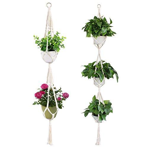 Yotako Makramee 3Tire Kleiderbügel und Makramee doppelte Pflanzgefäß Blumentopf zum Aufhängen Anlage Halterung für Outdoor Dekoration im Innenbereich 4Beine 177,8cm 149,9cm - Makramee-pot-kleiderbügel