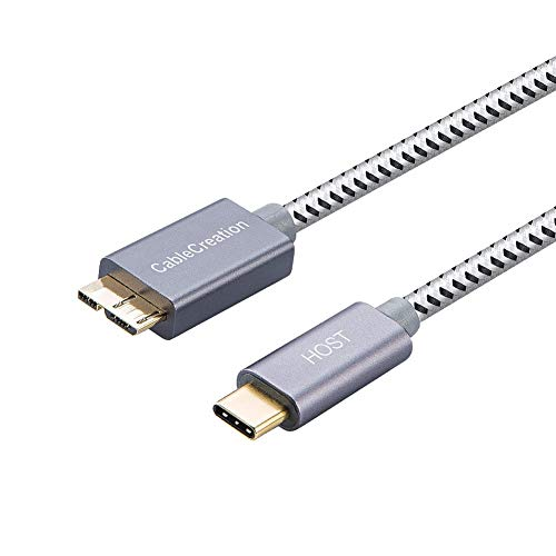 CableCreation USB C auf Micro USB USB 3.1 Typ C auf USB 3.0 Micro-B 2. Generation Kabel, USB c USB b Kabel,1Ft USB C Verbindungskabel für Apple MacBook Pro, Chromebook Pixel, HDD usw, 0,3M grau