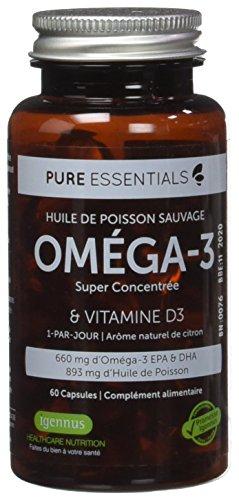 Pure Essentials Huile de Poisson Oméga-3 Super Concentrée & Vitamine D3, 660 mg EPA & DHA, 1-par-jour - 60 capsules