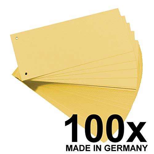 Falken Karton-Trennstreifen 10,5 x 24 cm 100er Pack gelb Trennlaschen Trennblätter Ordner Register Blauer Engel