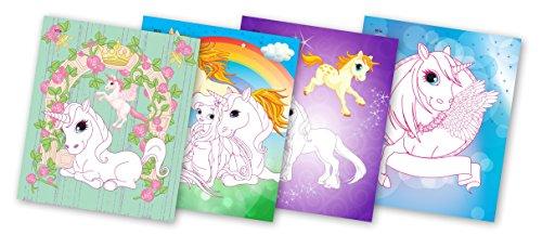 QuackDuck Malbuch My Unicorns Album - Creativity booklet with glitter - Mein Einhorn Pony Album - Malen auf Glitzer Hintergrund - Malblock für Kinder ab 6 Jahre - mit buntem Sammelumschlag mit Klettverschluss