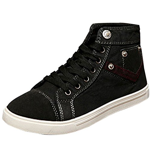 Azbro Modern High Top Lace-Up Round Toe Canvas Men Shoes Navy