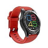 YWYU Mode Smartwatch Drahtlose Bluetooth Sportuhr Wasserdichte Tracker Stoppuhr Schrittzähler Aktivität Tracker Long Standby Smartphone Uhr (Farbe : Red)