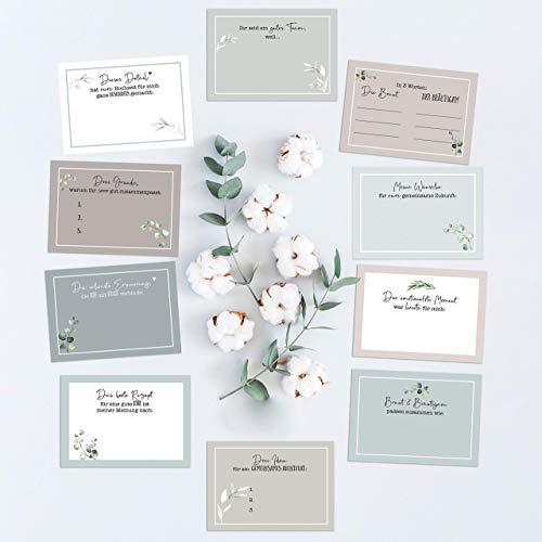 20 Gästebuch-Karten für die Hochzeit/Fragekarten zum Ausfüllen/süßes Hochzeitsgeschenk/Hochzeitsspiel/Greenery Hochzeit/Eukalyptus / 10,5cm x 7,4 cm (DIN A7)
