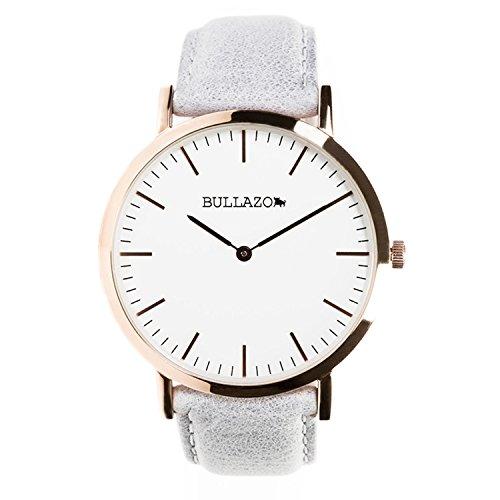 BULLAZO SENCILLO Uhr in rosegold mit Analog Quarz Uhrwerk aus Edelstahl mit Echtleder Wechselarmband in grau. Armbanduhr für Damen und Herren. XL 40 mm groß elegant klassisch flach. 20 mm Lederband.