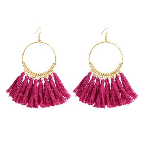 Amorar Damen Quaste Ohrringe Schmuck Ohrstecker Ohrringe mit großem Kreis Zubehör Retro Stil Modeschmuck Anhänger Ohrringe Ohrhänger Lila -