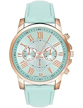 Damenuhr Armbanduhr in Chronograph Optik Edelstahl Uhr Uhren Günstig Quarzuhr Designer Farbe: Rosa Mint / Rose...