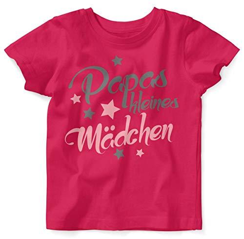 T-Shirt mit Spruch für Mädchen Unisex Kurzarm Papas kleines Mädchen | handbedruckt in Deutschland | Handmade with Love, Farbe:himbeerpink, Grösse:92/98 ()