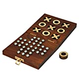 Toolart® Wooden Tic Tac Toe and Solitaire Board Game, Traditional Challenging Board Game