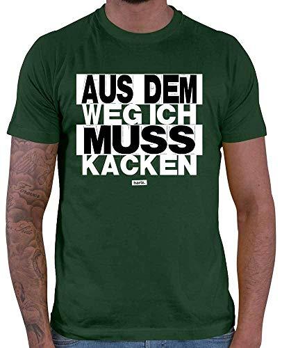HARIZ  Herren T-Shirt Aus Dem Weg Ich Muss Kacken Sprüche Schwarz Weiß Inkl. Geschenk Karte Dunkel Grün (Alter Mann Kostüm Fußball)