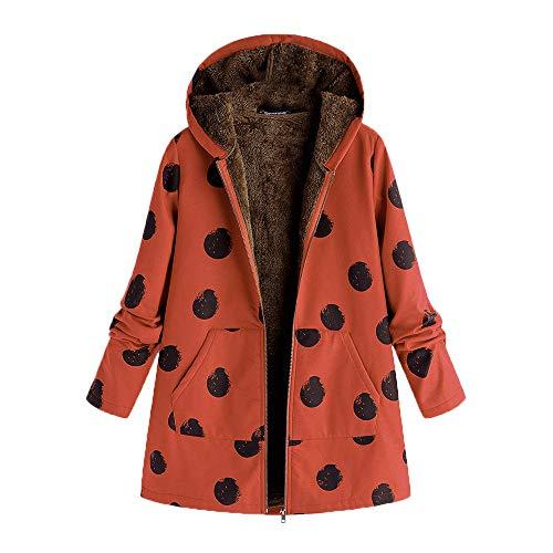iHENGH Damen Winter Jacke Dicker Warm Bequem Slim Parka Mantel Lässig Mode Frauen Outwear Katze Print Kapuzen Taschen Vintage übergroßen Coat(Orange-1, 4XL)