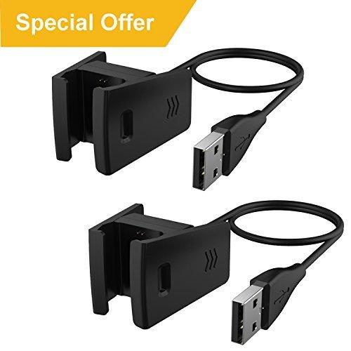 CAVN Compatible avec Fitbit Charge 2 Chargeur (2 Paquets), Remplacement USB Câble de Chargement pour Charge 2 Smart Fitness Tracker