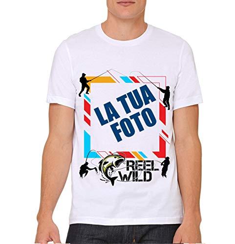 FISHING LAB T-Shirt Pesca Personalizzata Online con Disegni Foto Grafica Testo Logo Messaggio Nome LA Tua Tshirt con Stampante Diretta per Tessuti