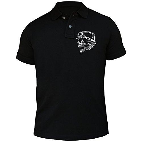 Männer und Herren POLO Shirt Born to Ride (mit Rückendruck) Schwarz