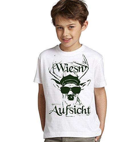 Kinder Jungen Kurzarm Trachten T-Shirt Outfit zum Volksfest Oktoberfest Wiesn :-: Geburtstagsgeschenk Kids :-: Wiesn - Aufsicht :-: Geschenkidee Teenager :-: Farbe: Weiss Gr: 98/104