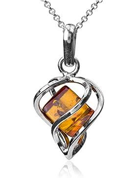 Bernstein Sterling Silber Millennium Kollektion Herz Anhänger Kette 46 cm